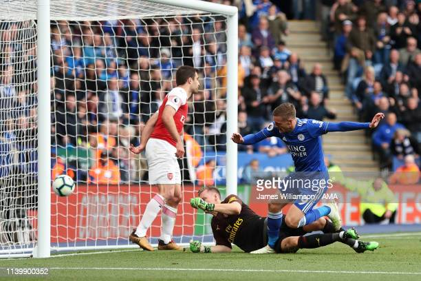Jamie Vardy of Leicester City scores a goal to make it 20 during the Premier League match between Leicester City and Arsenal FC at The King Power...