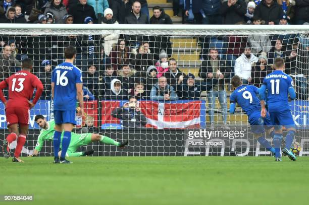 Jamie Vardy of Leicester City scores from the penalty spot to give his side a 10 lead during the Premier League match between Leicester City and...