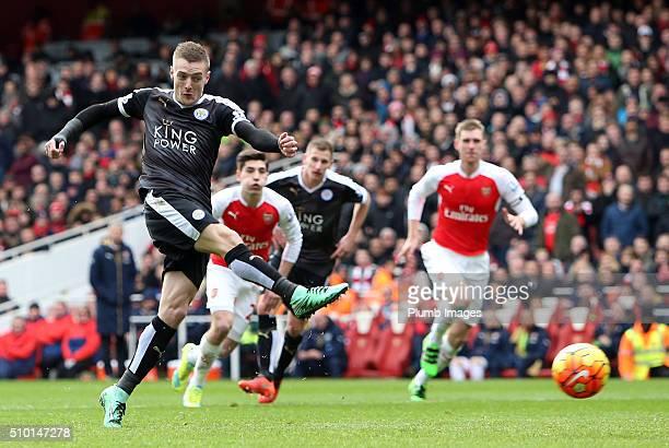 February 14: Jamie Vardy of Leicester City scores from the penalty spot to make it 0-1 during the Premier League match between Arsenal and Leicester...