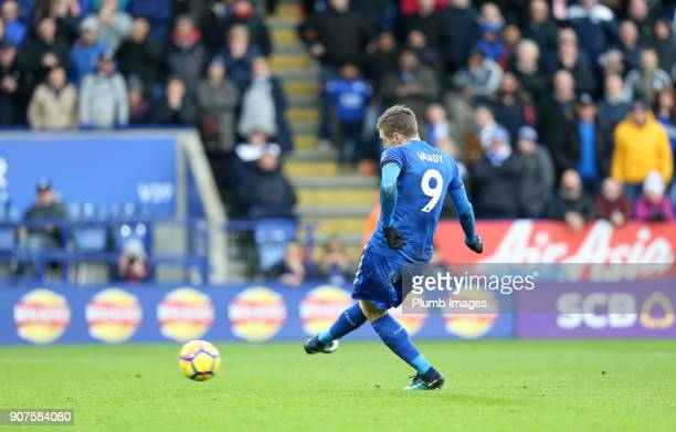 Jamie Vardy of Leicester City scores from the penalty spot to make it 10 during the Premier League match between Leicester City and Watford at King...