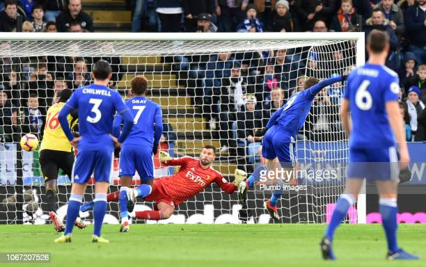 Jamie Vardy of Leicester City scores from the penalty spot to Put Leicester 10 up during the Premier League match between Leicester City and Watford...