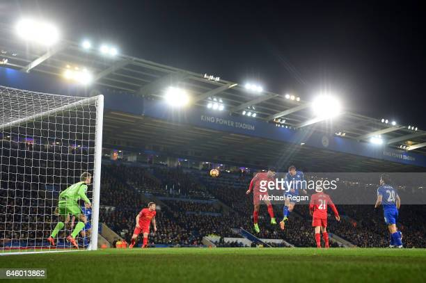 Jamie Vardy of Leicester City scores his second and his sides third goal during the Premier League match between Leicester City and Liverpool at The...