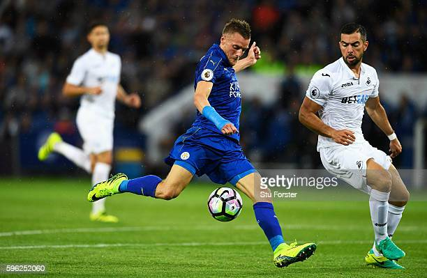 Jamie Vardy of Leicester City scores his sides first goal during the Premier League match between Leicester City and Swansea City at The King Power...