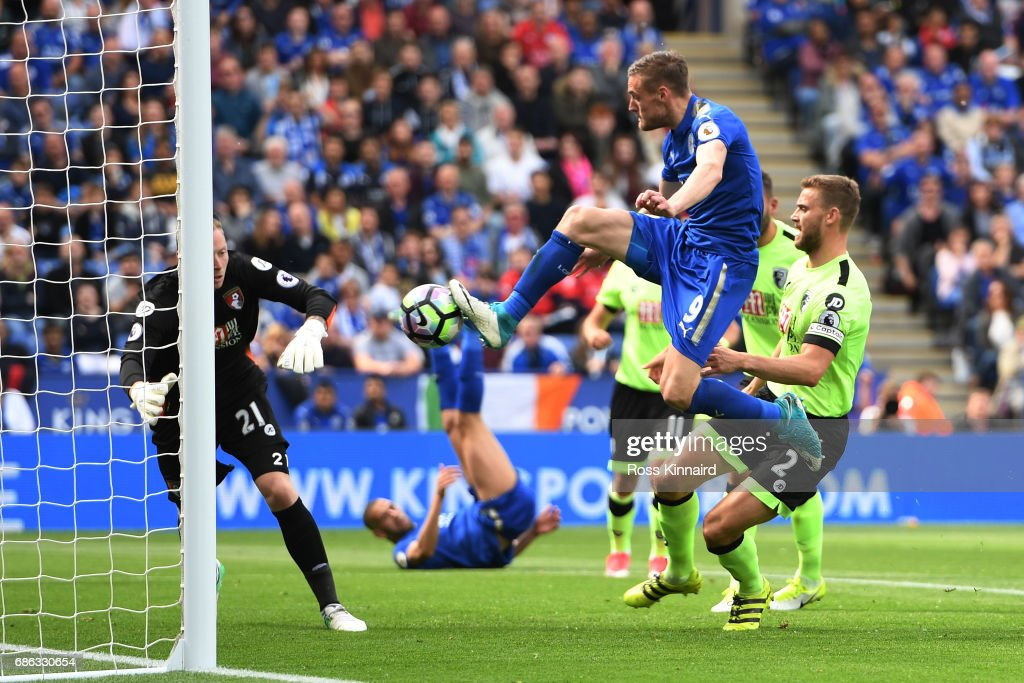 Jamie Vardy of Leicester City scores his sides first goal during the Premier League match between Leicester City and AFC Bournemouth at The King Power Stadium on May 21, 2017 in Leicester, England.