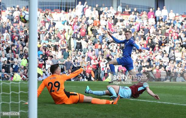 Jamie Vardy of Leicester City scores his sides first goal during the Premier League match between Burnley and Leicester City at Turf Moor on April 14...
