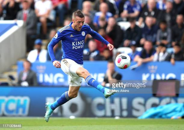 Jamie Vardy of Leicester City scores his team's first goal during the Premier League match between Leicester City and AFC Bournemouth at The King...