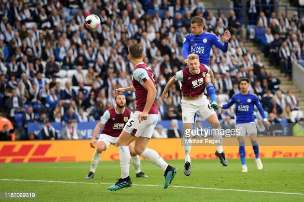 Jamie Vardy of Leicester City scores his team's first goal during the Premier League match between Leicester City and Burnley FC at The King Power...
