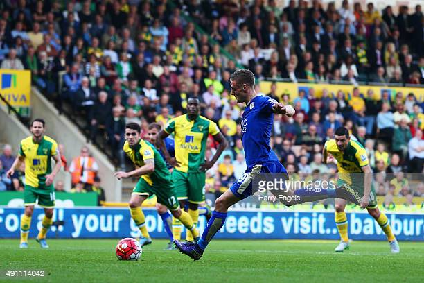 Jamie Vardy of Leicester City scores his team's first goal during the Barclays Premier League match between Norwich City and Leicester City at Carrow...