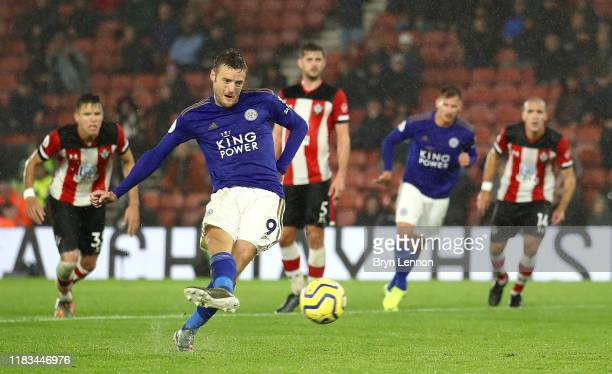 Jamie Vardy of Leicester City scores his team's ninth goal from the penalty spot during the Premier League match between Southampton FC and Leicester...