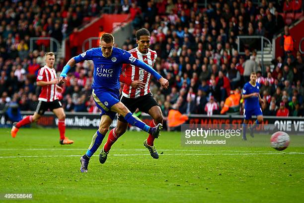 Jamie Vardy of Leicester City scores his team's second goal during the Barclays Premier League match between Southampton and Leicester City at St...