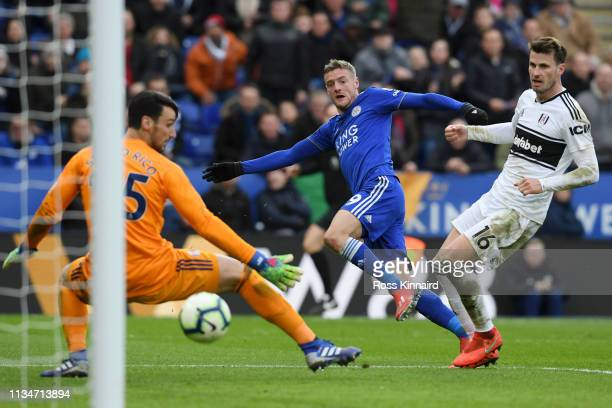 Jamie Vardy of Leicester City scores his team's second goal past Sergio Rico of Fulham during the Premier League match between Leicester City and...