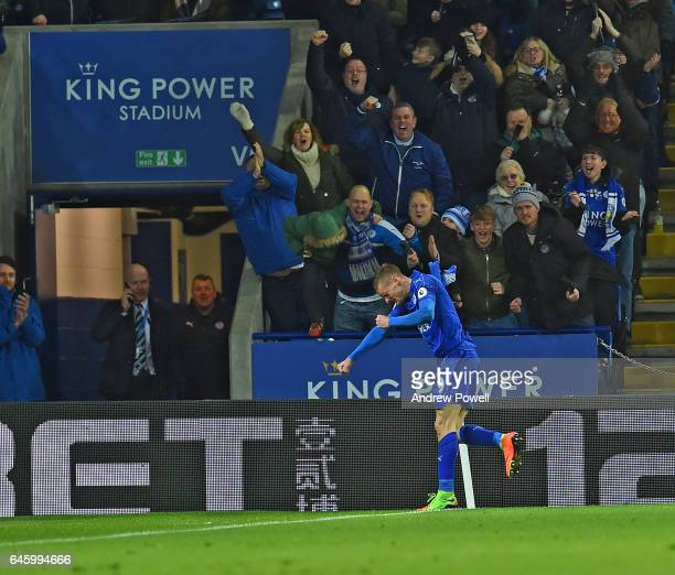 Jamie Vardy of Leicester city scores the first goal and celebrates during the Premier League match between Leicester City and Liverpool at The King...
