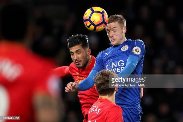 Jamie Vardy of Leicester City scores the third goal to make the score 30 during the Premier League match between Leicester City and Liverpool at The...