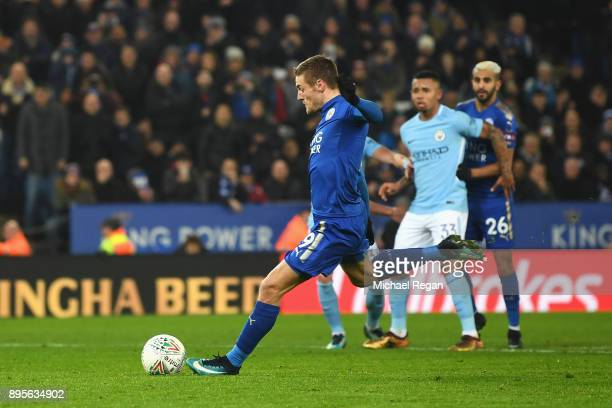 Jamie Vardy of Leicester City scores their first goal from the penalty spot during the Carabao Cup QuarterFinal match between Leicester City and...