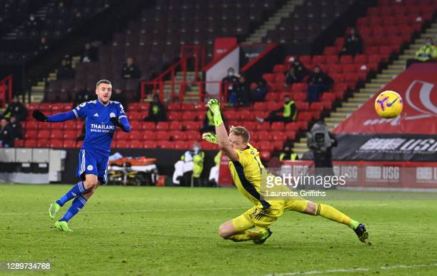 Jamie Vardy of Leicester City scores their team's second goal during the Premier League match between Sheffield United and Leicester City at Bramall...