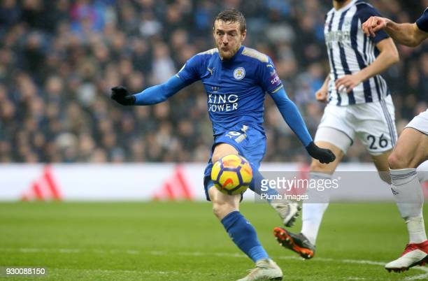 Jamie Vardy of Leicester City scores to make it 11 during the Premier League match between West Bromwich Albion and Leicester City at The Hawthorns...