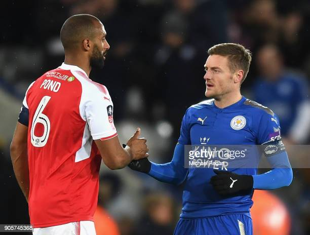 Jamie Vardy of Leicester City shakes hands with Nathan Pond of Fleetwood Town after The Emirates FA Cup Third Round Replay match between Leicester...