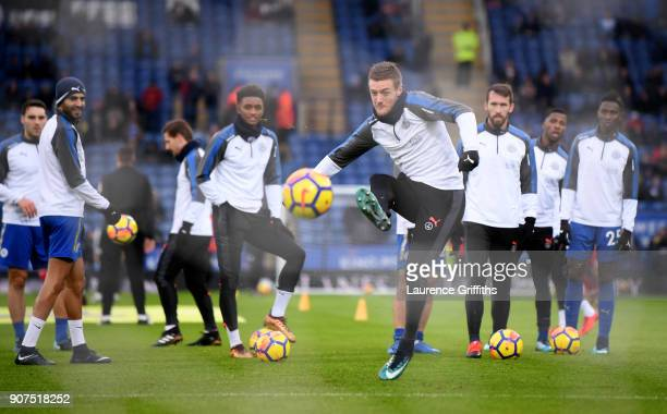Jamie Vardy of Leicester City shoots as he warms up prior to the Premier League match between Leicester City and Watford at The King Power Stadium on...