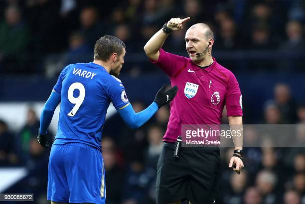 Jamie Vardy of Leicester City speaks with Bobby Madley Match Referee during the Premier League match between West Bromwich Albion and Leicester City...