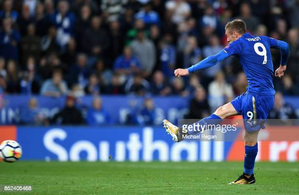 Jamie Vardy of Leicester City takes a penalty kick during the Premier League match between Leicester City and Liverpool at The King Power Stadium on...