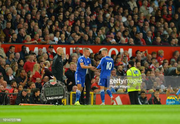 Jamie Vardy of Leicester City takes to the field as James Maddison is substituted during the Premier League match between Manchester United and...