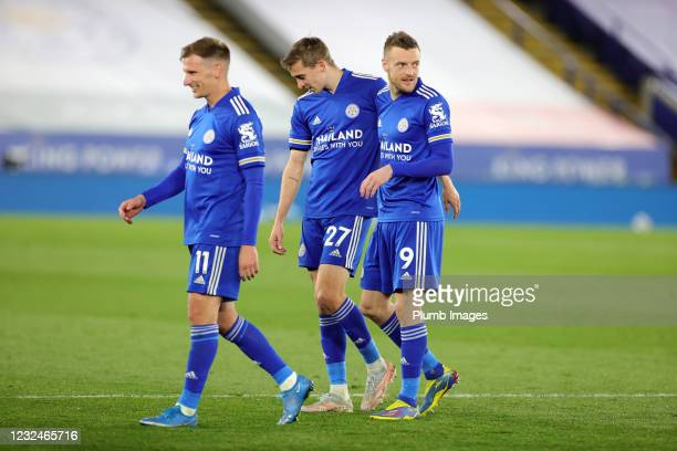Jamie Vardy of Leicester City, Timothy Castagne of Leicester City and Marc Albrighton of Leicester City celebrate after the Premier League match...
