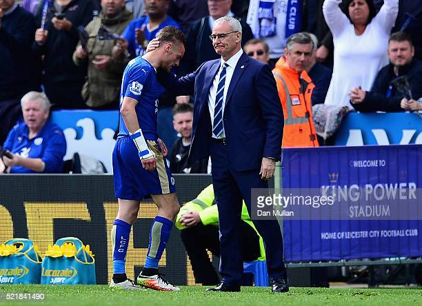 Jamie Vardy of Leicester City walks off after being sent off by referee Jonathan Moss during the Barclays Premier League match between Leicester City...