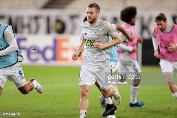 Jamie Vardy of Leicester City warms up ahead of the UEFA Europa League Group G stage match between AEK Athens and Leicester City at Athens Olympic...