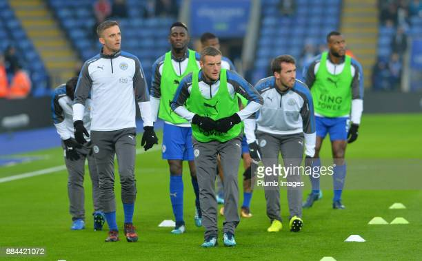 Jamie Vardy of Leicester City warms up at King Power Stadium ahead of the Premier League match between Leicester City and Burnley at King Power...