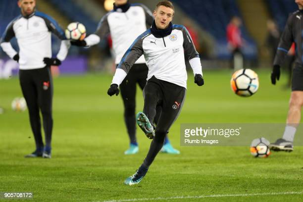 Jamie Vardy of Leicester City warms up at King Power Stadium ahead of The Emirates FA Cup Third Round Replay between Leicester City and Fleetwood...