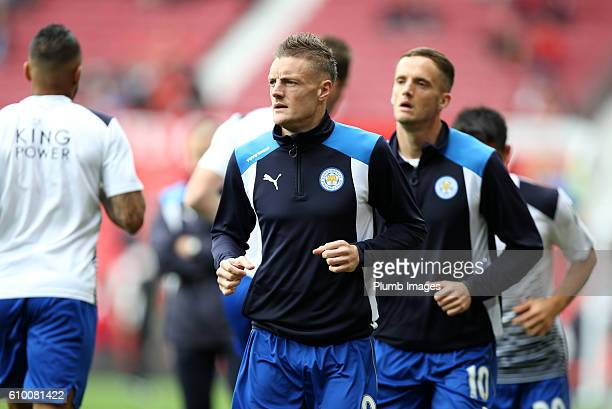 Jamie Vardy of Leicester City warms up at Old Trafford ahead of the Premier League match between Manchester United and Leicester City at Old Trafford...