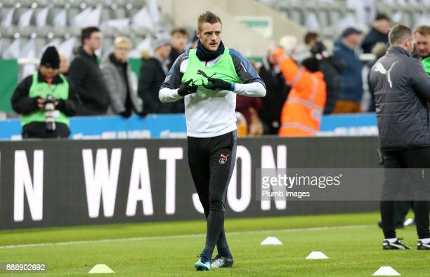 Jamie Vardy of Leicester City warms up at St James Park ahead of the Premier League match between Newcastle United and Leicester City at St James...