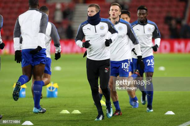 Jamie Vardy of Leicester City warms up at St Mary's Stadium ahead of the Premier League match between Southampton and Leicester City at St Mary's...