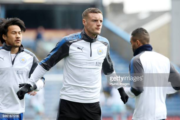 Jamie Vardy of Leicester City warms up at Turf Moor ahead the Premier League match between Burnley and Leicester City at Turf Moor on April 14th 2018...