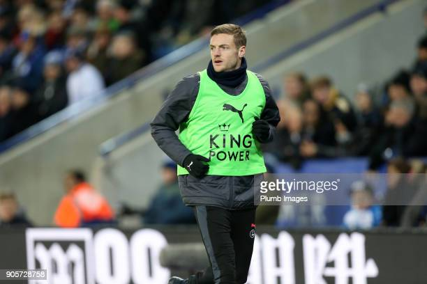 Jamie Vardy of Leicester City warms up from the bench during The Emirates FA Cup Third Round Replay between Leicester City and Fleetwood Town at King...