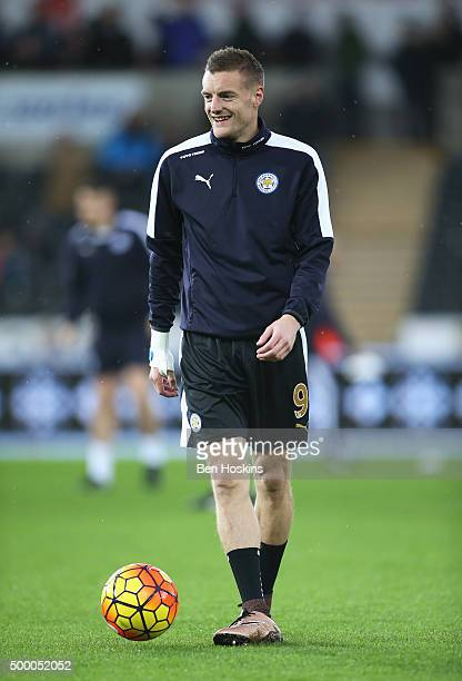 Jamie Vardy of Leicester City warms up prior to the Barclays Premier League match between Swansea City and Leicester City at Liberty Stadium on...