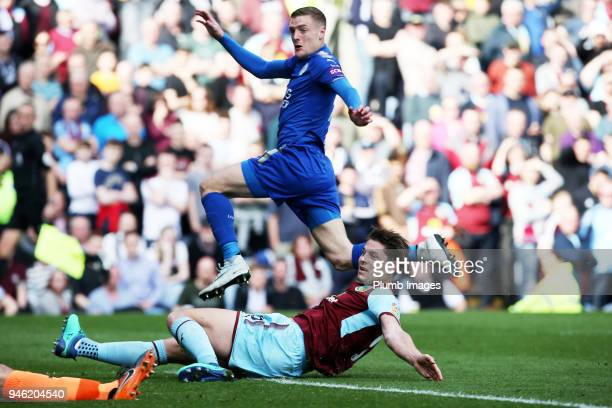 Jamie Vardy of Leicester City watches his strike hit the back of the net to make it 21 during the Premier League match between Burnley and Leicester...