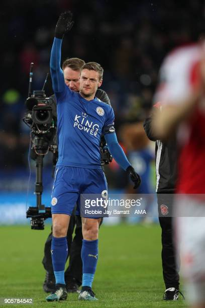 Jamie Vardy of Leicester City waves the the Fleetwood Town fans at full time during The Emirates FA Cup Third Round Replay match between Leicester...