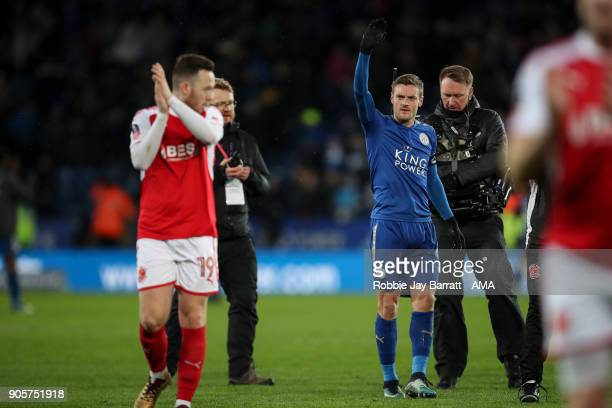 Jamie Vardy of Leicester City waves to the Fleetwood Town fans at full time during The Emirates FA Cup Third Round Replay match between Leicester...