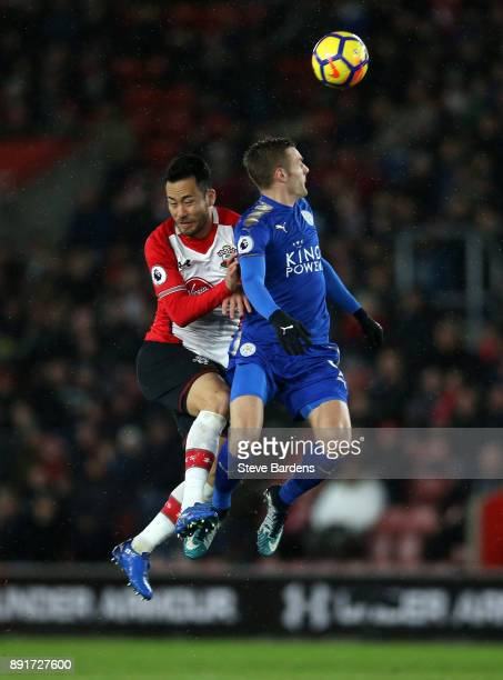 Jamie Vardy of Leicester City wins a header over Maya Yoshida of Southampton during the Premier League match between Southampton and Leicester City...