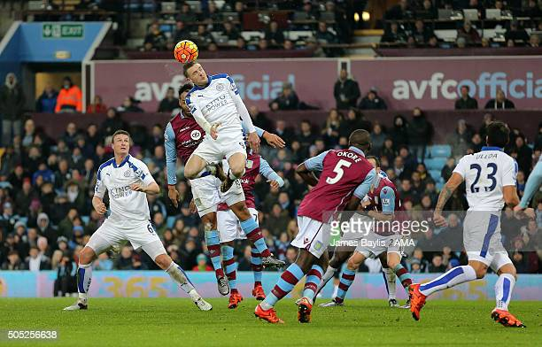 Jamie Vardy of Leicester City wins this header from a corner during the Barclays Premier League match between Aston Villa and Leicester City at Vila...