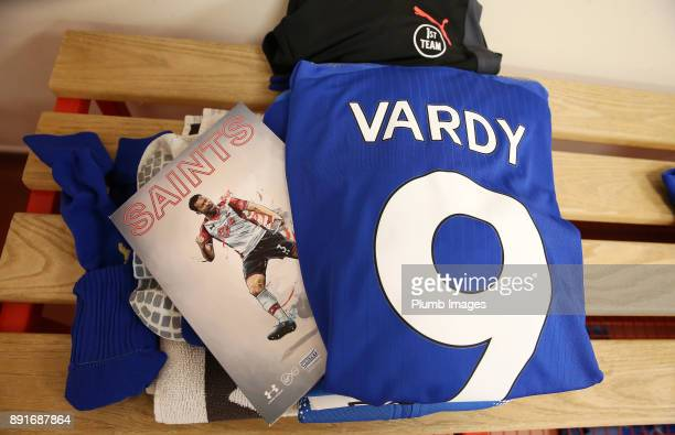 Jamie Vardy of Leicester City's kit is laid out at St Mary's Stadium ahead of the Premier League match between Southampton and Leicester City at St...