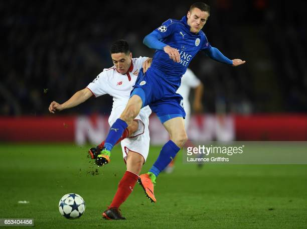 Jamie Vardy of Leicester Cty battles wth Samir Nasri of Seville during the UEFA Champions League Round of 16 second leg match between Leicester City...