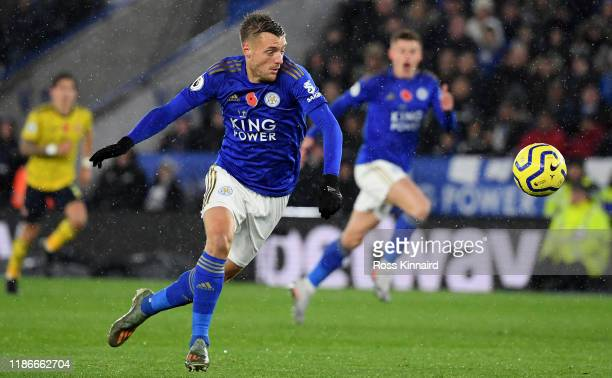 Jamie Vardy of Leicester in action 11during the Premier League match between Leicester City and Arsenal FC at The King Power Stadium on November 09,...