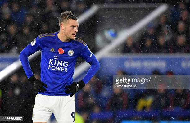 Jamie Vardy of Leicester in action 11during the Premier League match between Leicester City and Arsenal FC at The King Power Stadium on November 09...