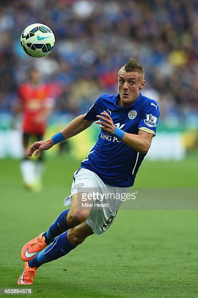Jamie Vardy of Leicester in action during the Barclays Premier League match between Leicester City and Manchester United at The King Power Stadium on...