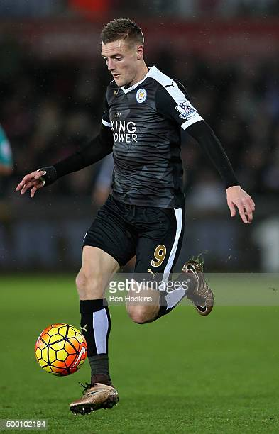 Jamie Vardy of Leicester in action during the Barclays Premier League match between Swansea City and Leicester City at Liberty Stadium on December 5...