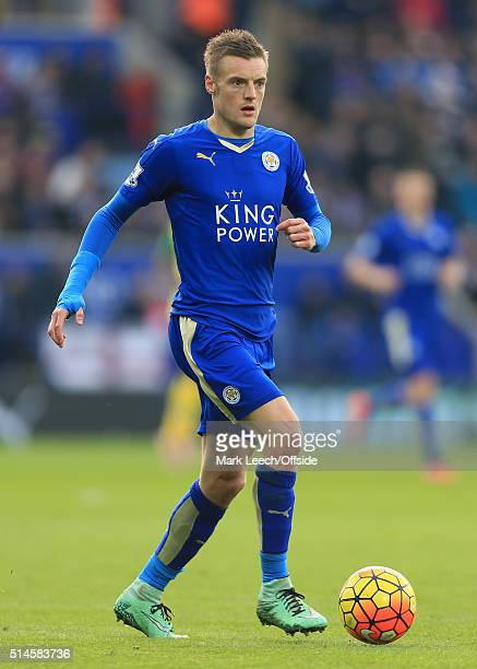Jamie Vardy of Leicester in action during the Barclays Premier League match between Leicester City and Norwich City at the King Power Stadium on...