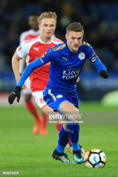 Jamie Vardy of Leicester in action during The Emirates FA Cup Third Round Replay match between Leicester City and Fleetwood Town at the King Power...