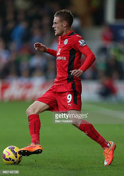 Jamie Vardy of Leicester in action during the Premier League match between Queens Park Rangers and Leicester City at Loftus Road on November 29 2014...